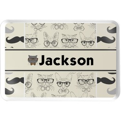 Hipster Cats & Mustache Serving Tray (Personalized)