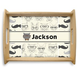 Hipster Cats & Mustache Natural Wooden Tray - Large (Personalized)