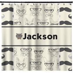 Hipster Cats & Mustache Shower Curtain (Personalized)
