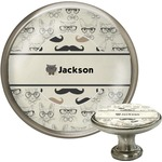 Hipster Cats & Mustache Cabinet Knob (Silver) (Personalized)
