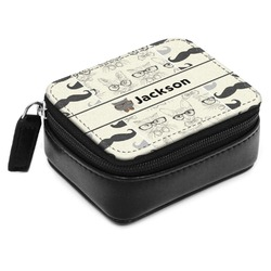 Hipster Cats & Mustache Small Leatherette Travel Pill Case (Personalized)