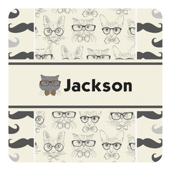 Hipster Cats & Mustache Square Decal - Custom Size (Personalized)
