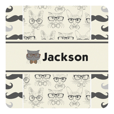 Hipster Cats & Mustache Square Decal (Personalized)