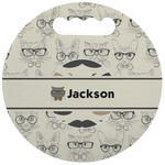 Hipster Cats & Mustache Stadium Cushion (Round) (Personalized)