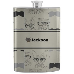 Hipster Cats & Mustache Stainless Steel Flask (Personalized)