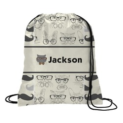 Hipster Cats & Mustache Drawstring Backpack (Personalized)
