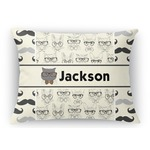 Hipster Cats & Mustache Rectangular Throw Pillow (Personalized)