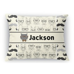 Hipster Cats & Mustache Rectangular Throw Pillow Case (Personalized)