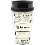 Hipster Cats & Mustache Travel Mug (Personalized)