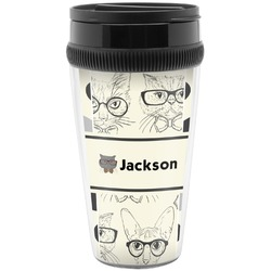 Hipster Cats & Mustache Travel Mugs (Personalized)