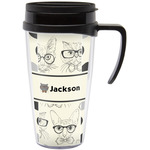 Hipster Cats & Mustache Travel Mug with Handle (Personalized)