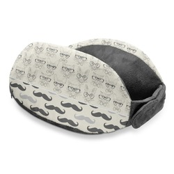 Hipster Cats & Mustache Travel Neck Pillow (Personalized)