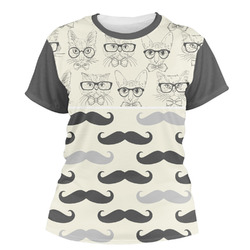 Hipster Cats & Mustache Women's Crew T-Shirt (Personalized)