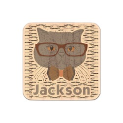 Hipster Cats & Mustache Genuine Wood Sticker (Personalized)