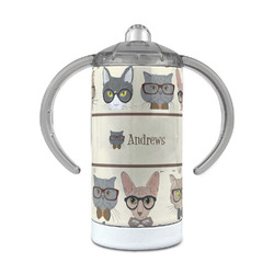 Hipster Cats 12 oz Stainless Steel Sippy Cup (Personalized)