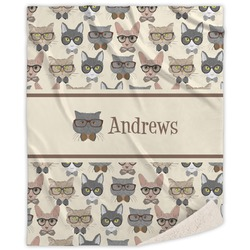 Hipster Cats Sherpa Throw Blanket (Personalized)