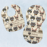 Hipster Cats Baby Bib & Burp Set w/ Name or Text