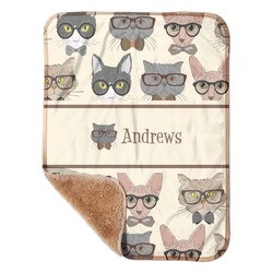 "Hipster Cats Sherpa Baby Blanket 30"" x 40"" (Personalized)"