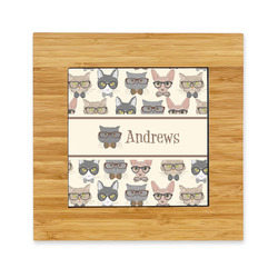Hipster Cats Bamboo Trivet with Ceramic Tile Insert (Personalized)