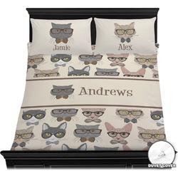Hipster Cats Duvet Cover Set (Personalized)