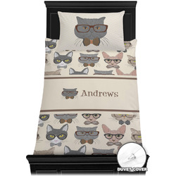 Hipster Cats Duvet Cover Set - Twin XL (Personalized)