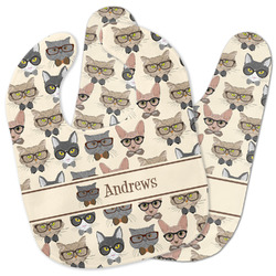 Hipster Cats Baby Bib w/ Name or Text