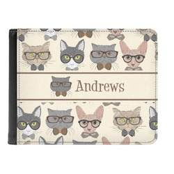 Hipster Cats Genuine Leather Men's Bi-fold Wallet (Personalized)