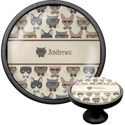 Hipster Cats Cabinet Knob (Black) (Personalized)