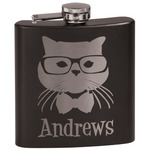 Hipster Cats Black Flask (Personalized)