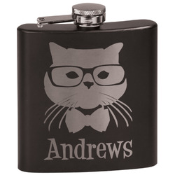 Hipster Cats Black Flask Set (Personalized)
