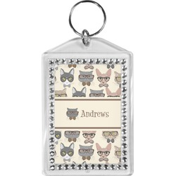 Hipster Cats Bling Keychain (Personalized)
