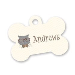 Hipster Cats Bone Shaped Dog Tag (Personalized)