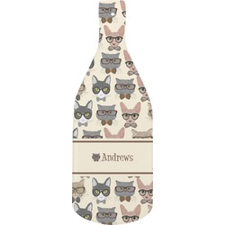 Hipster Cats Bottle Shaped Cutting Board (Personalized)