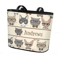 Hipster Cats Bucket Tote w/ Genuine Leather Trim (Personalized)