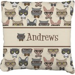 Hipster Cats Faux-Linen Throw Pillow (Personalized)