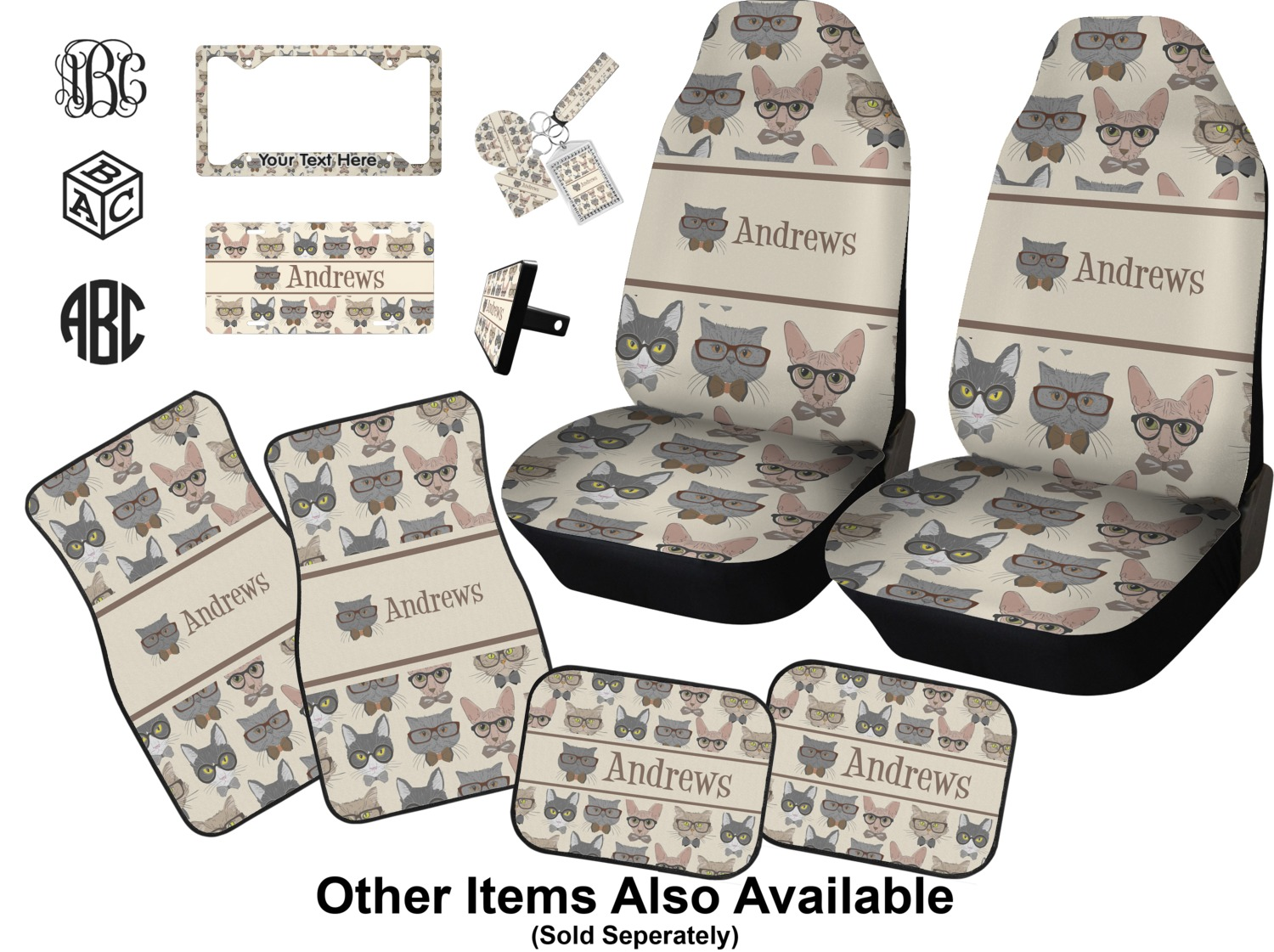 Rnk Shops Hipster Cats Car Seat Covers Set Of Two