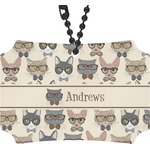 Hipster Cats Rear View Mirror Ornament (Personalized)
