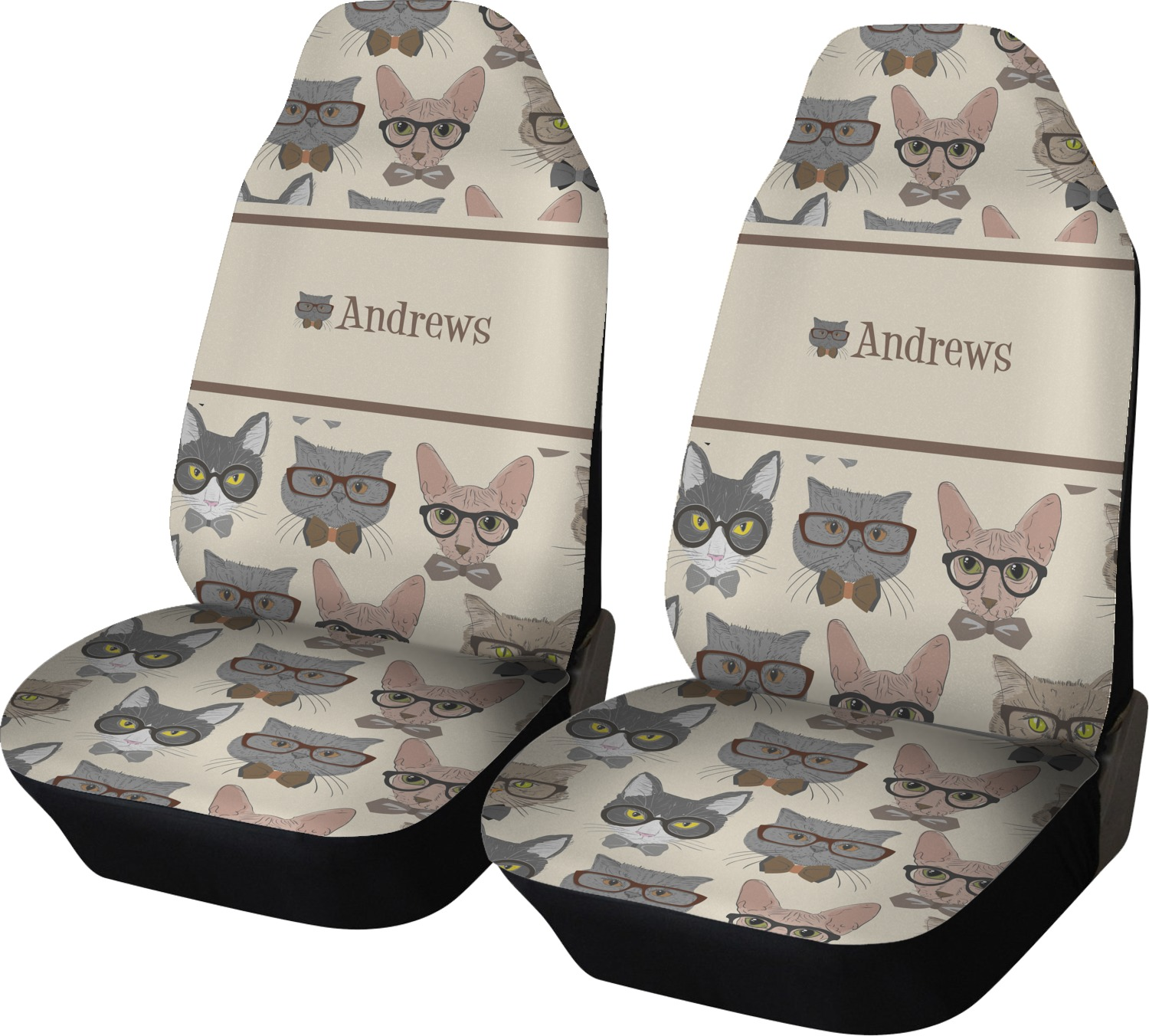 Hipster Cats Car Seat Covers Set Of Two Personalized