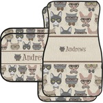 Hipster Cats Car Floor Mats Set - 2 Front & 2 Back (Personalized)