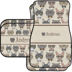 Hipster Cats Car Floor Mats (Personalized)