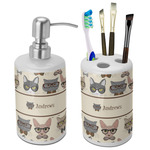 Hipster Cats Ceramic Bathroom Accessories Set (Personalized)