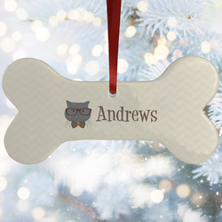 Hipster Cats Ceramic Dog Ornaments w/ Name or Text