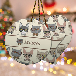 Hipster Cats Ceramic Ornament - Double Sided w/ Name or Text
