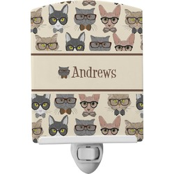 Hipster Cats Ceramic Night Light (Personalized)