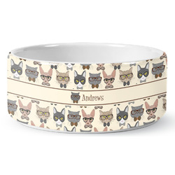 Hipster Cats Ceramic Pet Bowl (Personalized)