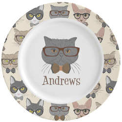Hipster Cats Ceramic Dinner Plates (Set of 4) (Personalized)