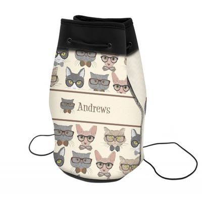 Hipster Cats Neoprene Drawstring Backpack (Personalized)