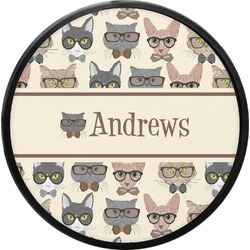 Hipster Cats Round Trailer Hitch Cover (Personalized)