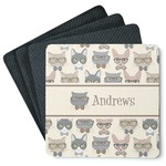 Hipster Cats 4 Square Coasters - Rubber Backed (Personalized)