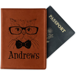 Hipster Cats Leatherette Passport Holder (Personalized)